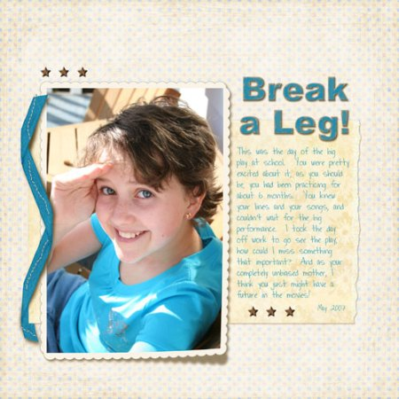 Break a Leg! Digital Scrapbooking Layout